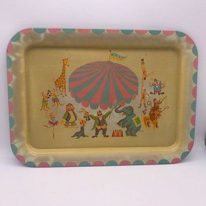 Vintage Metal Tin Circus Theme TV Dinner Tray